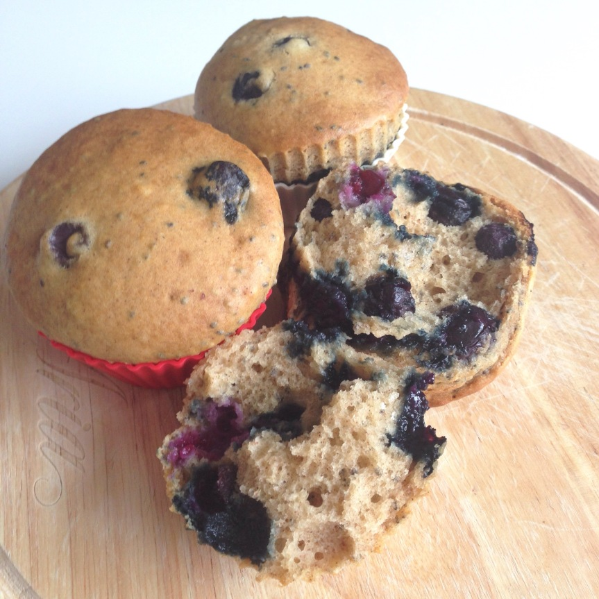 Blueberry Banana Chia Seed Muffins