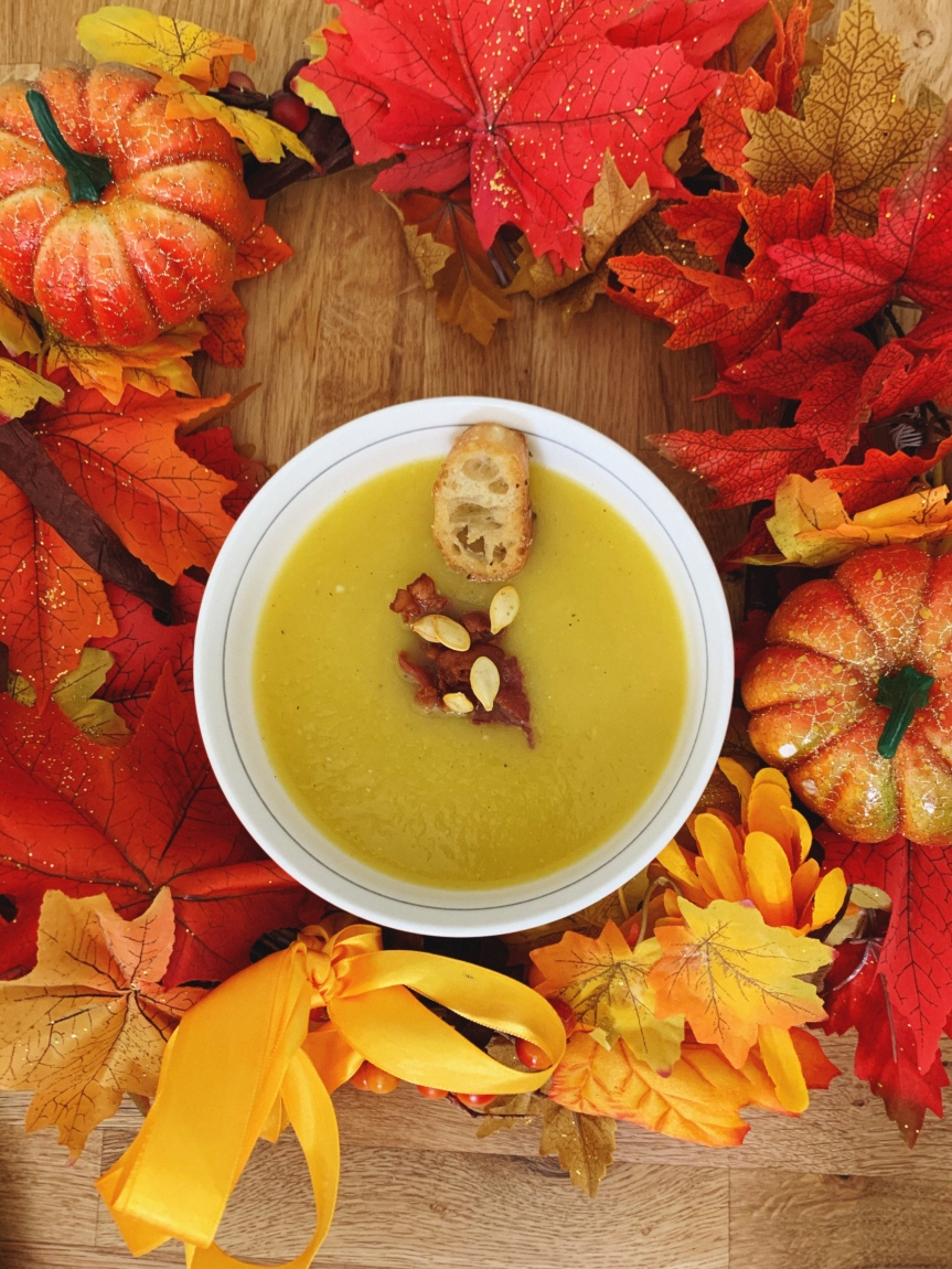 Roasted Pumpkin Soup With Bacon andGarlic
